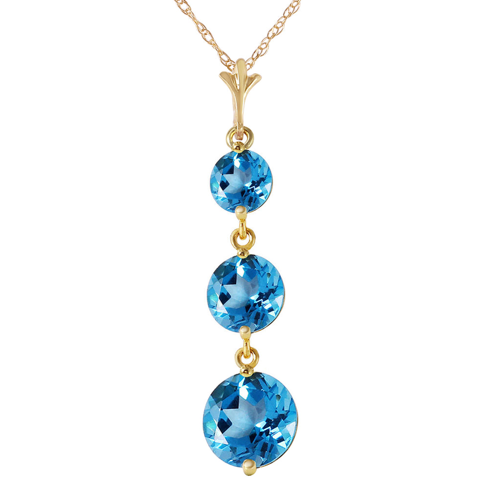 3.6 Carat 14K Solid Gold Bluejay Blue Topaz Necklace