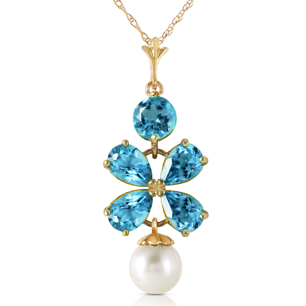 3.65 Carat 14K Soild Gold Seafoam Blue Topaz pearl Necklace