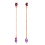 3.15 CTW 14K Solid White Gold Chandelier Earrings Natural Amethyst