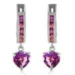 3.2 Carat 14K Solid White Gold V-shape Hoop Earrings Heart Amethyst