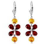 5.32 CTW 14K Solid White Gold Chandelier Earrings Citrine Garnet