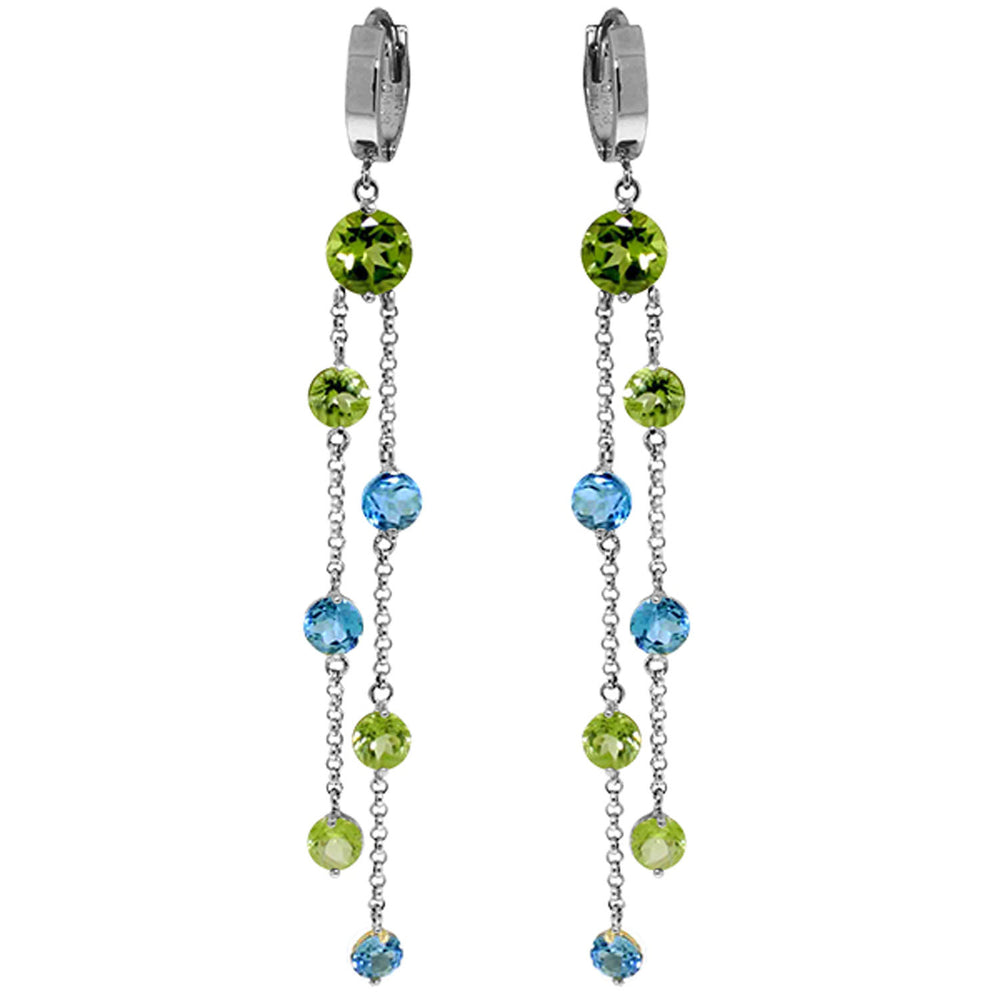8.99 CTW 14K Solid White Gold Chandelier Earrings Peridot Blue Topaz