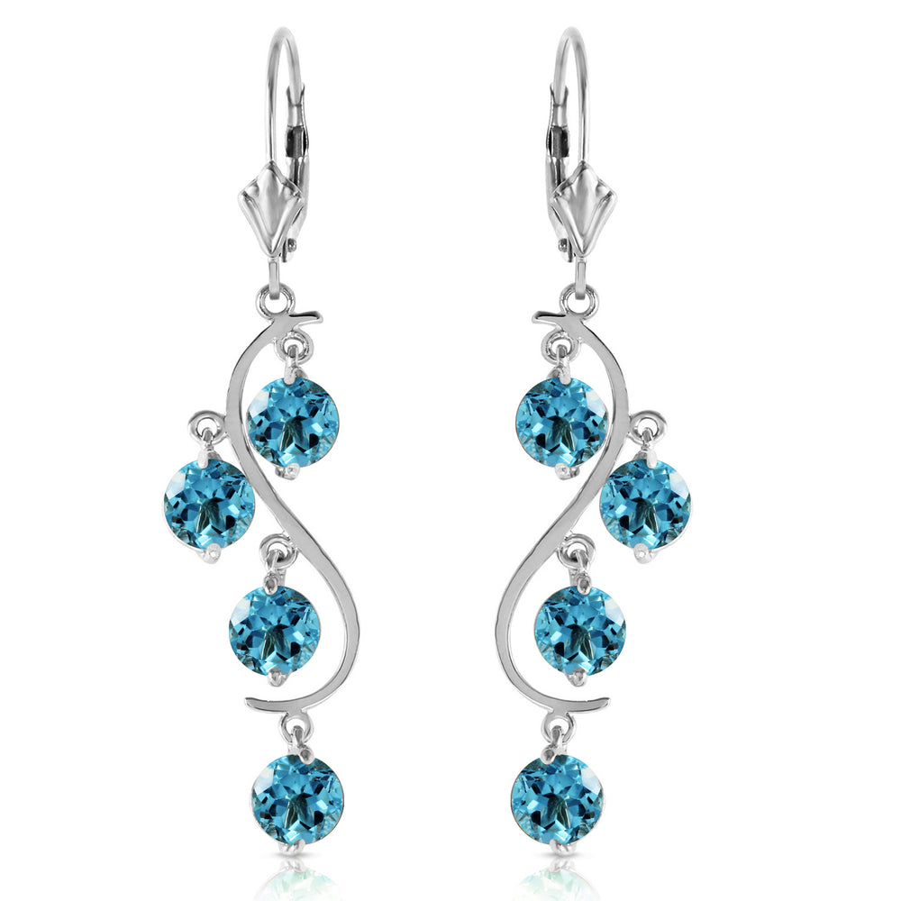 4.95 Carat 14K Solid Gold Spring Year Round Blue Topaz Earrings