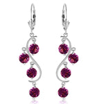 4.95 Carat 14K Solid White Gold Stately Heart Amethyst Earrings