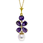 3.65 Carat 14K Solid Gold Persephone Amethyst pearl Necklace