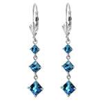 4.79 Carat 14K Solid White Gold For No Reason Blue Topaz Earrings