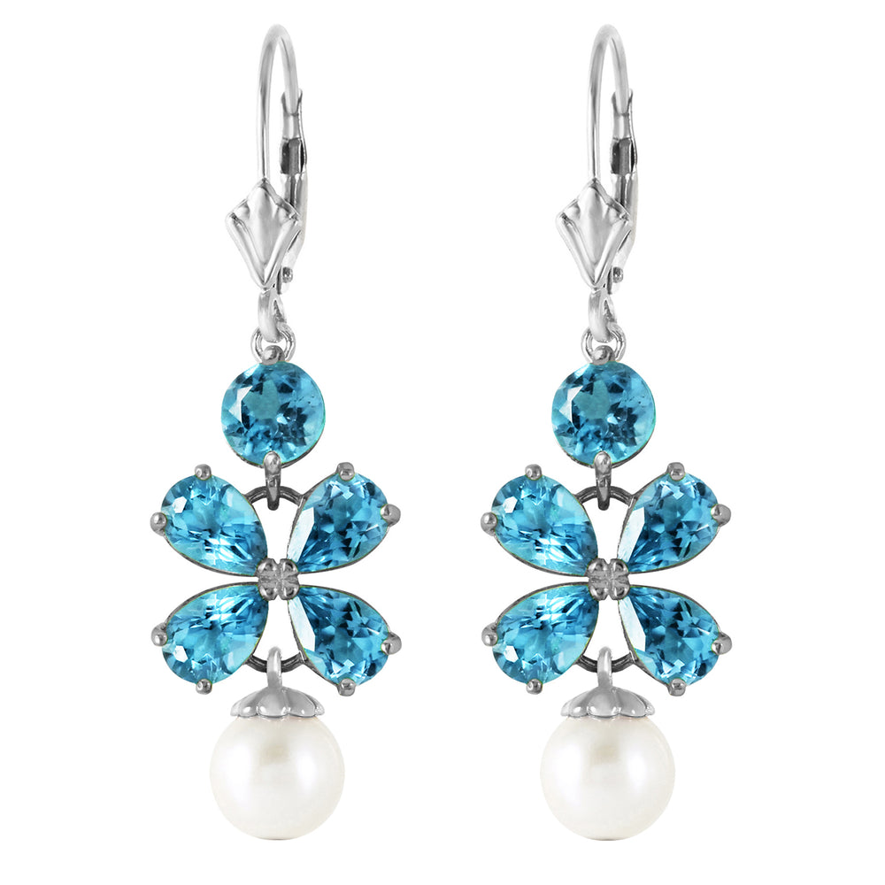 6.28 CTW 14K Solid White Gold Chandelier Earrings Blue Topaz pearl