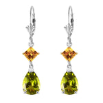 4.5 CTW 14K Solid White Gold Leverback Earrings Peridot Citrine