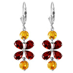 5.32 CTW 14K Solid White Gold Chandelier Earrings Garnet Citrine