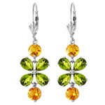 5.32 Carat 14K Solid White Gold Chandelier Earrings Peridot Citrine
