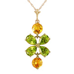 3.15 CTW 14K Solid Gold Necklace Peridot Citrine