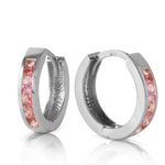 1.3 CTW 14K Solid White Gold Hoop Huggie Earrings Pink Sapphire