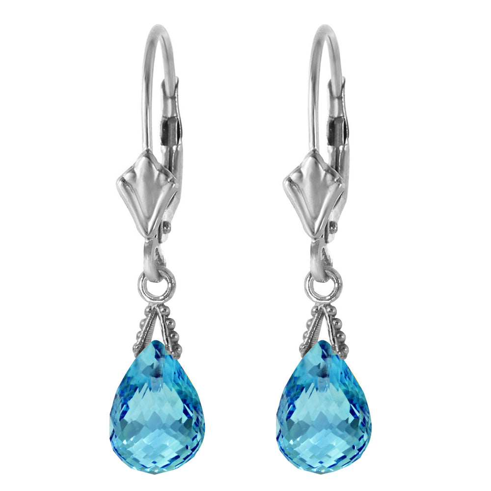 4.5 Carat 14K Solid White Gold Leverback Earrings Briolette Blue Topaz