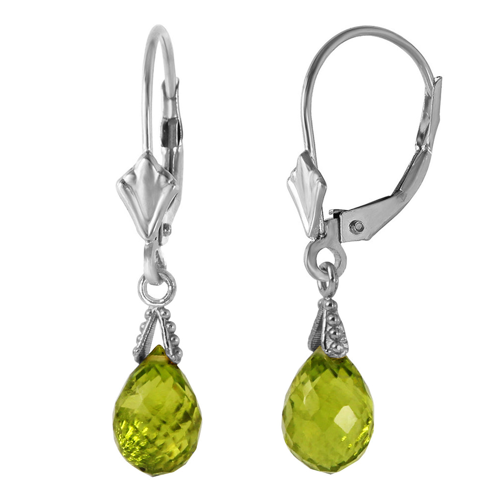 4.5 Carat 14K Solid White Gold Leverback Earrings Briolette Peridot