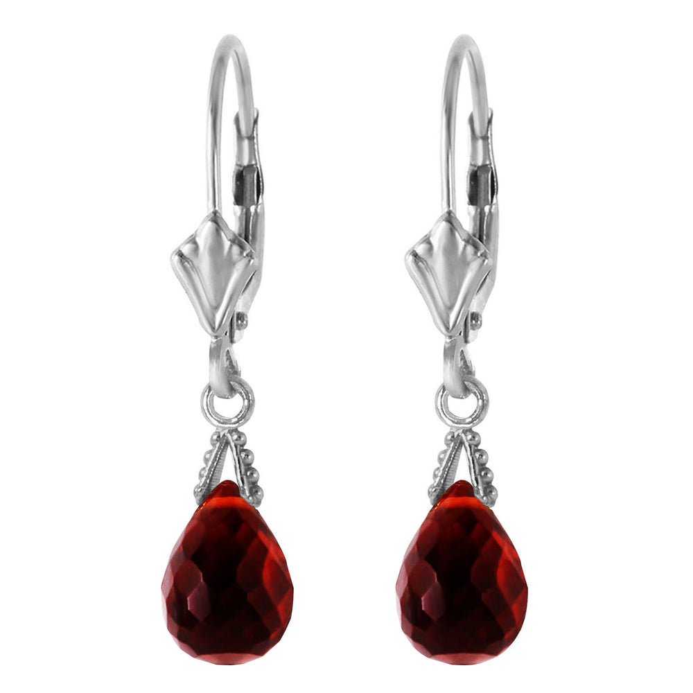 4.5 Carat 14K Solid White Gold Leverback Earrings Briolette Garnet