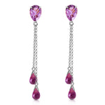7.5 Carat 14K Solid White Gold Heart Can't Forget Amethyst Earrings