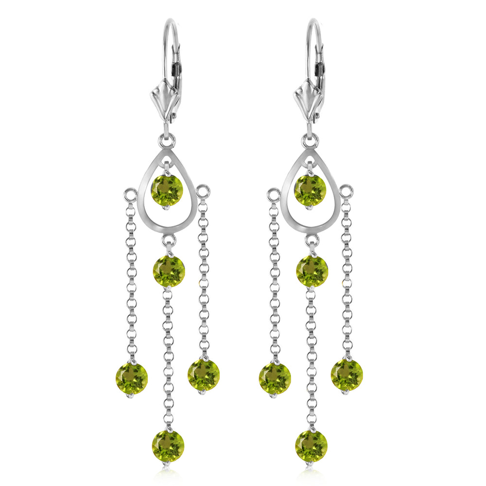 3 Carat 14K Solid White Gold Washington Square Peridot Earrings