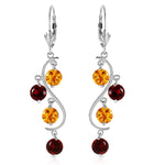 4.6 Carat 14K Solid White Gold Homage To Love Garnet Citrine Earrings