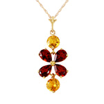 3.15 CTW 14K Solid Gold Felicita Garnet Citrine Necklace