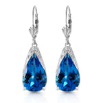 12 CTW 14K Solid White Gold Lifetime You Blue Topaz Earrings