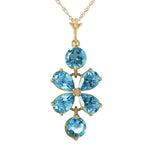 3.15 Carat 14K Solid Gold Passione Blue Topaz Necklace