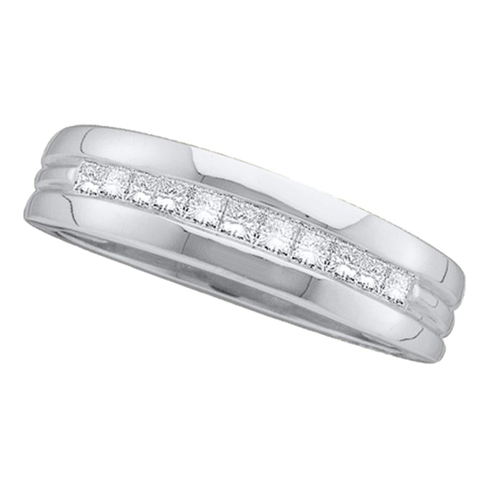 14kt White Gold Mens Princess Diamond Wedding Band Ring 1.00 Cttw