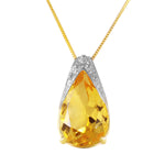 5 Carat 14K Solid Gold Necklace Natural Citrine