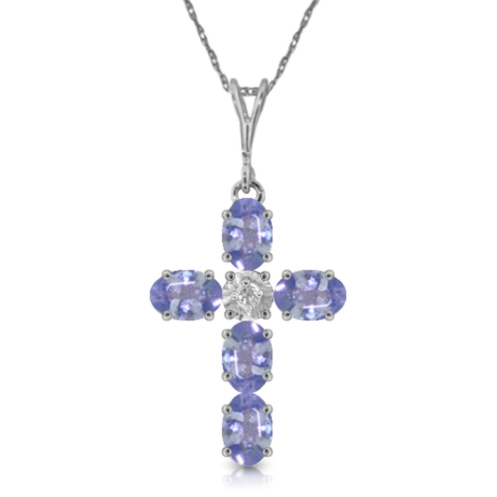 1.75 Carat 14K Solid White Gold Cross Necklace Natural Diamond Tanzanite