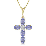 1.75 CTW 14K Solid Gold Cross Necklace Natural Diamond Tanzanite