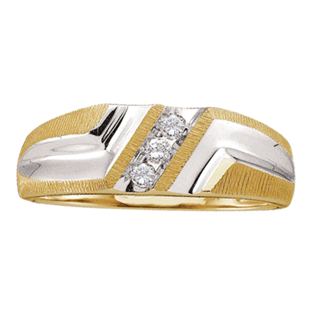 10kt Yellow Gold Mens Round Diamond Wedding Band Ring 1/10 Cttw