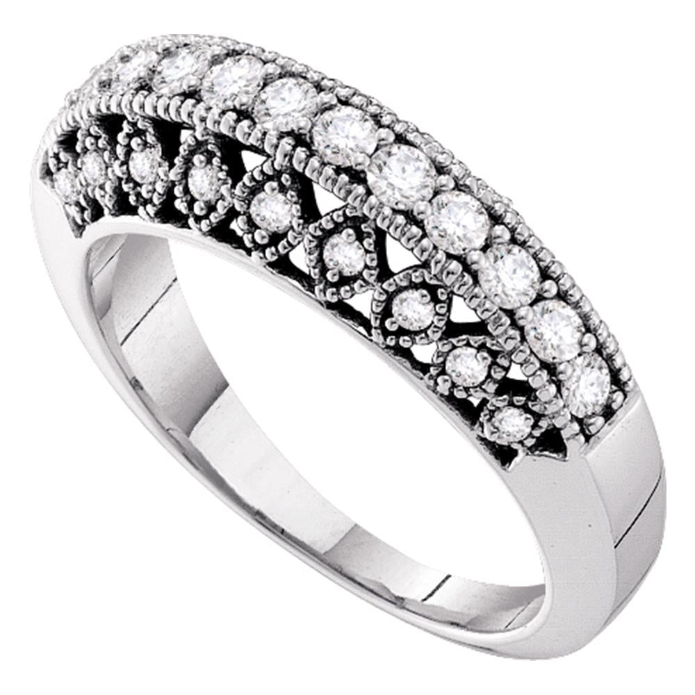 14kt White Gold Womens Round Diamond Single Row Milgrain Band Ring 1/2 Cttw
