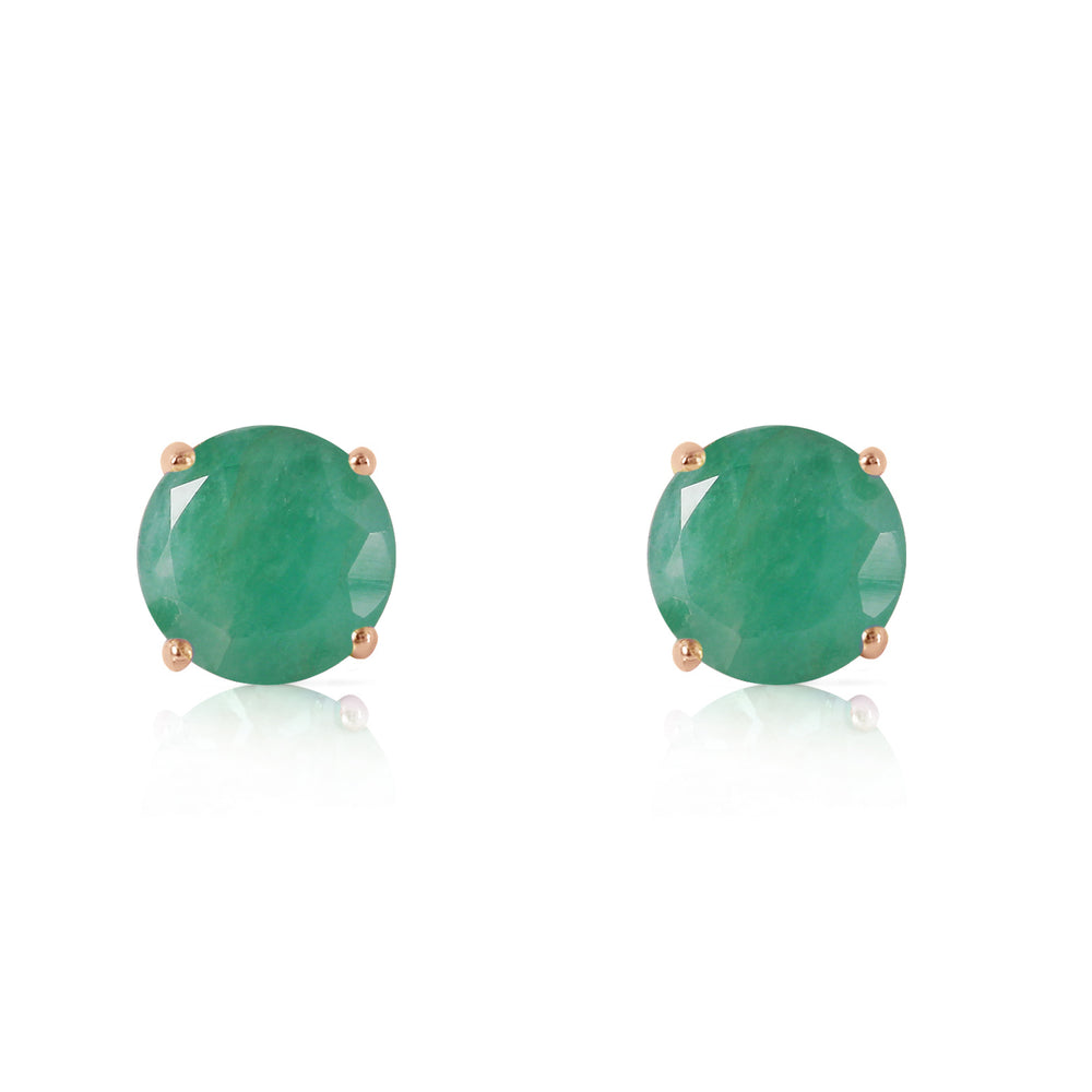 0.95 Carat 14K Solid Rose Gold Spotlight Emerald Stud Earrings