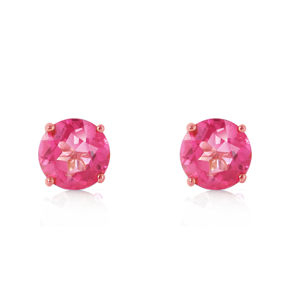 1.3 Carat 14K Solid Rose Gold Spotlight Pink Topaz Stud Earrings