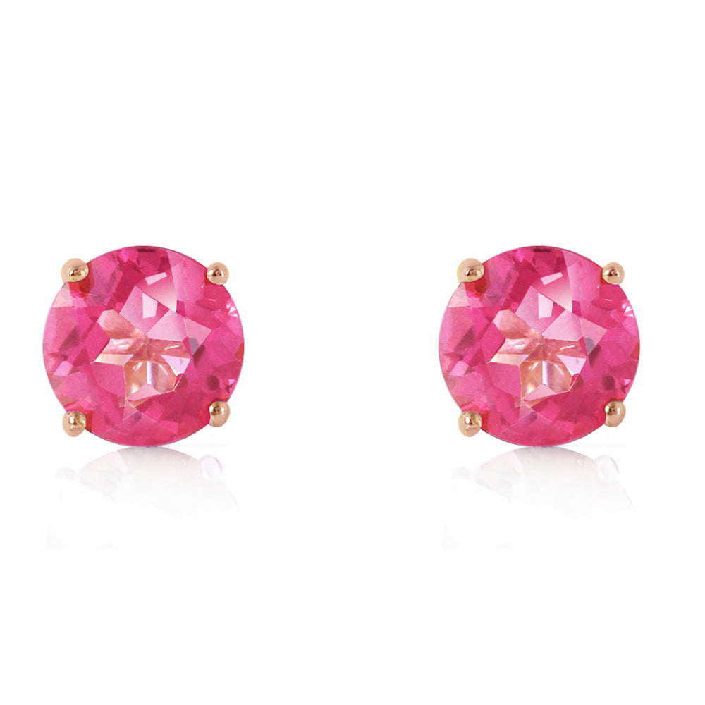 3.1 CTW 14K Solid Rose Gold Anna Pink Topaz Stud Earrings