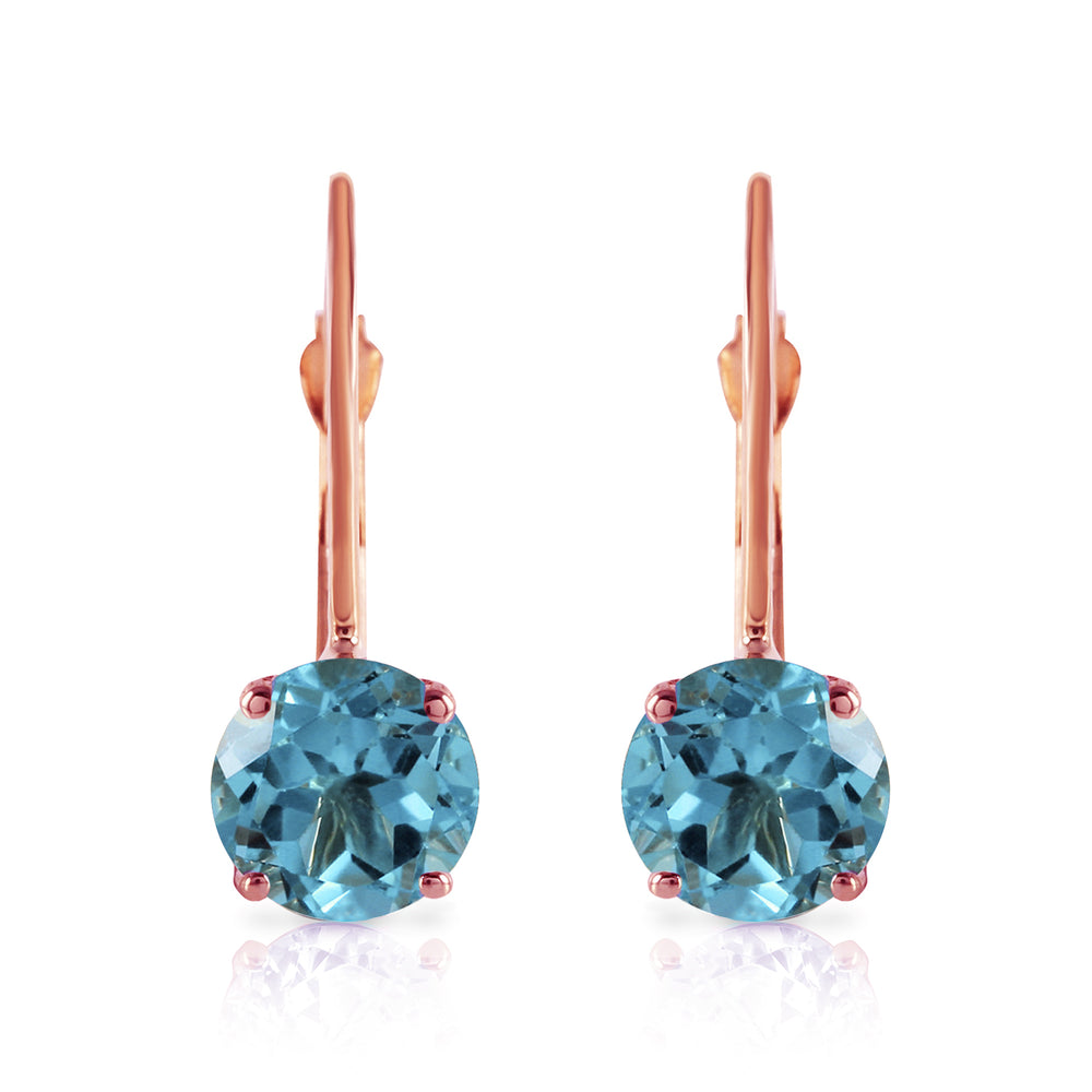 1.2 Carat 14K Solid Rose Gold Solitaire Blue Topaz Earrings