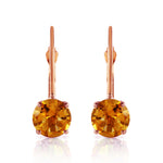 1.2 CTW 14K Solid Rose Gold Solitaire Citrine Earrings