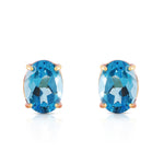 1.8 Carat 14K Solid Rose Gold Panache Blue Topaz Stud Earrings