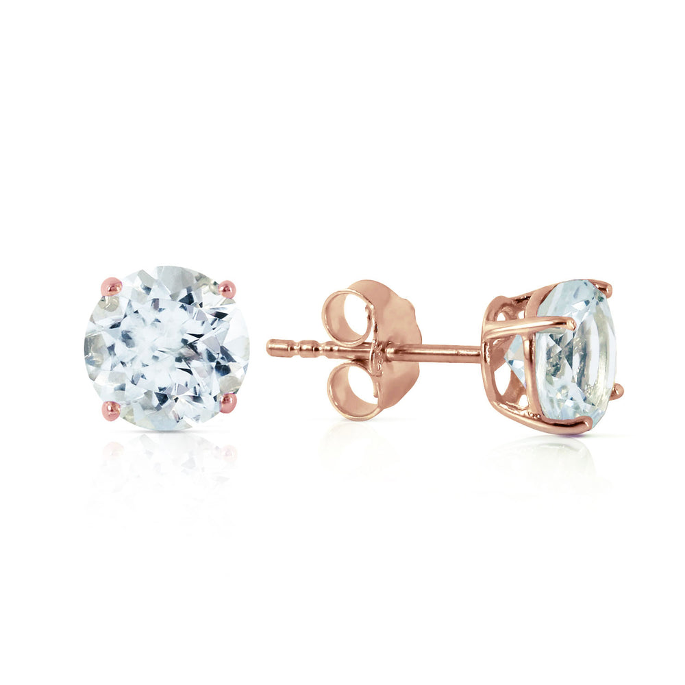 0.95 CTW 14K Solid Rose Gold Petite Aquamarine Stud Earrings