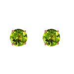 0.95 Carat 14K Solid Rose Gold Petite Peridot Stud Earrings