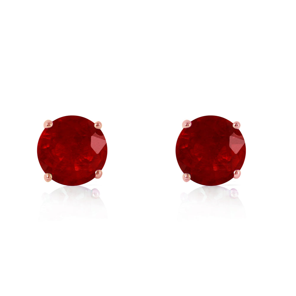 0.95 Carat 14K Solid Rose Gold Petite Ruby Stud Earrings