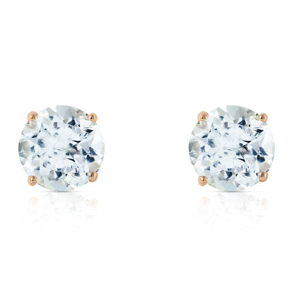 3.1 CTW 14K Solid Gold Anchors Away Aquamarine Earrings