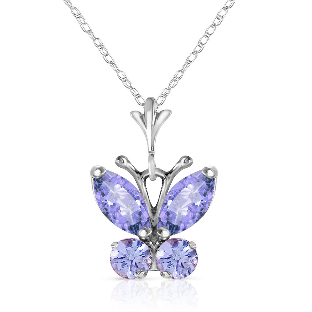 0.6 Carat 14K Solid White Gold Butterfly Necklace Tanzanite