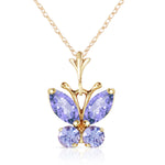 0.6 Carat 14K Solid Gold Butterfly Necklace Tanzanite