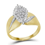 14kt Yellow Gold Womens Round Diamond Oval Marquise-shape Cluster Ring 1/8 Cttw