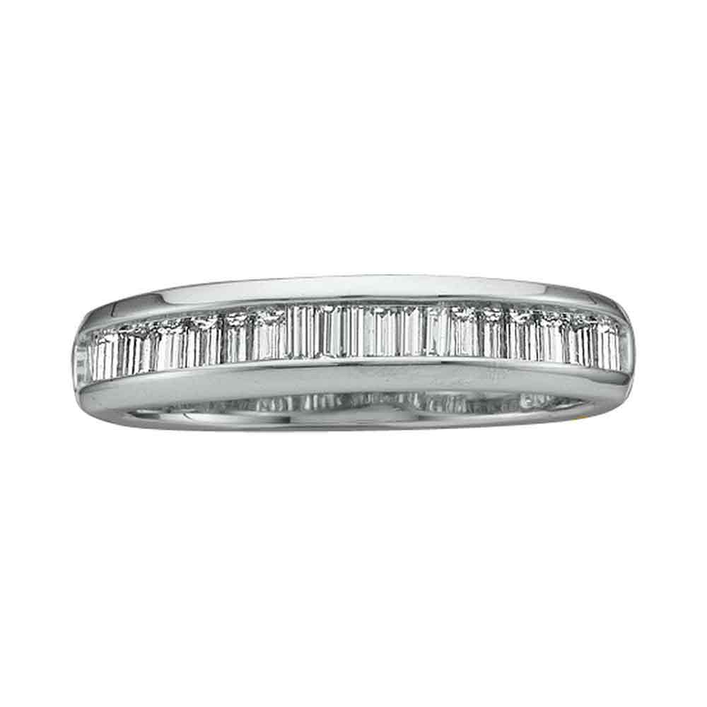 14kt White Gold Womens Baguette Diamond Wedding Anniversary Band 1/2 Cttw