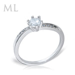 0.75 CT Carat ROUND CUT Engagement Promise RING Silver Plated SIZE 4-10