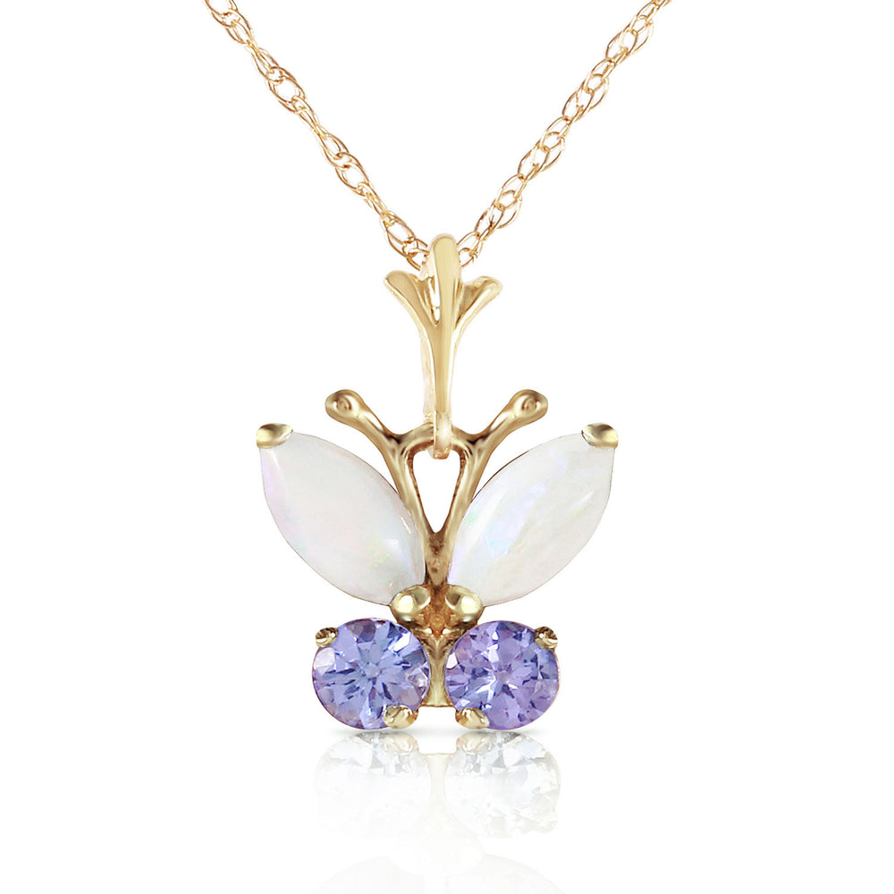 0.7 CTW 14K Solid Gold Butterfly Necklace Opal Tanzanite