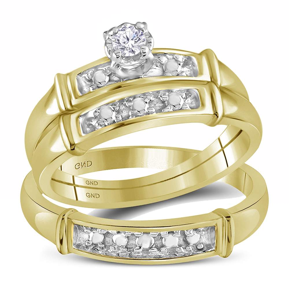 14kt Yellow Gold His & Hers Round Diamond Solitaire Matching Bridal Wedding Ring Band Set 1/10 Cttw
