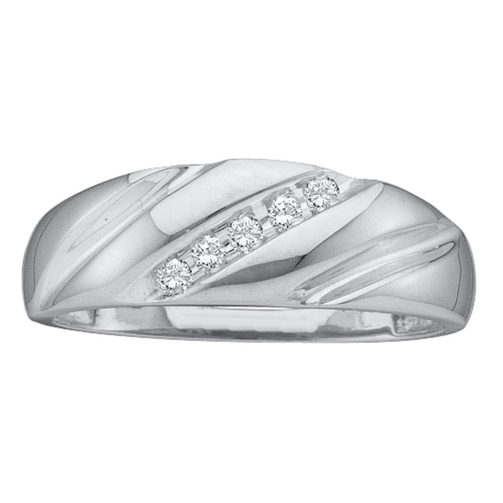 14k White Gold Round Channel-set Diamond Mens Lightweight Wedding Band 1/10 Cttw