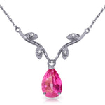 1.52 Carat 14K Solid White Gold Naturalive Moment Pink Topaz Diamond Necklace